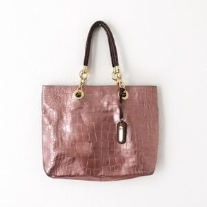 Cynthia Rowley Crocodile Embossed Leather Tote